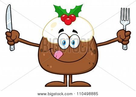 Christmas Pudding Character Licking His Lips And Holding Silverware