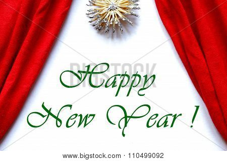 Red Curtains Theatre Stage White Background Happy New Year 2016