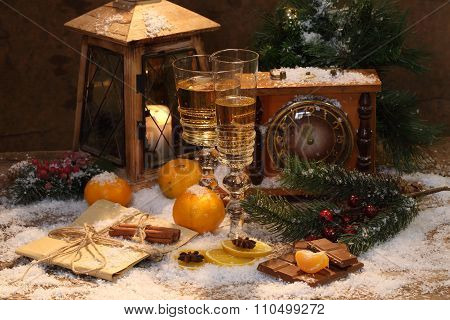 New Year's Still-life With Champagne, Tangerines And Chocolate
