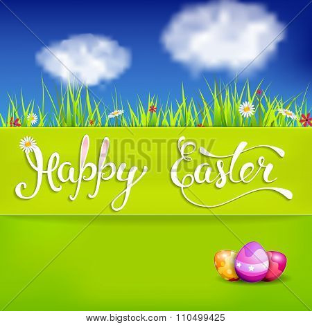 Easter Greeting Card With Easter Eggs And Handwritten Text