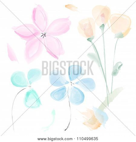 Set Of Abstract Watercolor Flowers