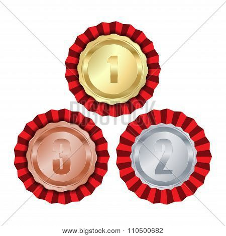 Vector Medals With Gold Rosette First Place, Second Place Silver And Bronze Third Place