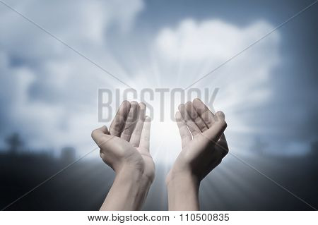 Human Hand Praying To God
