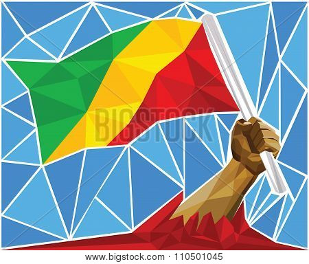 Patriotic Powerful Man Arm Raising The National Flag Of The Republic Of Congo