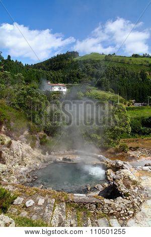 Hot spring in Furnas Sao Miguel island Azores