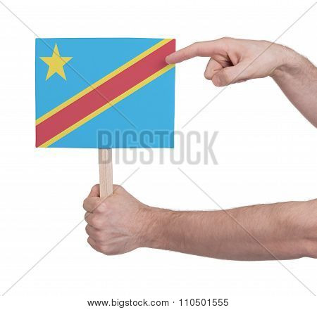 Hand Holding Small Card - Flag Of Congo