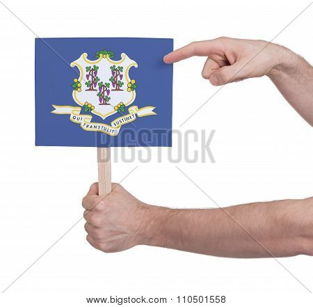 Hand Holding Small Card - Flag Of Connecticut