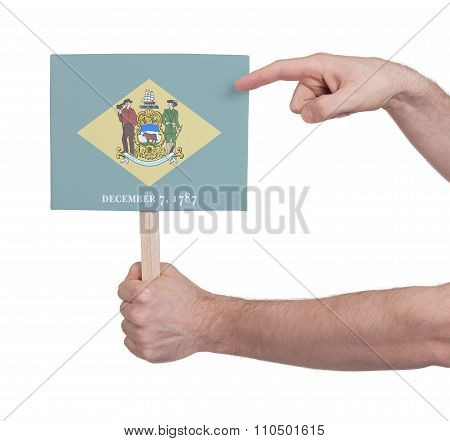Hand Holding Small Card - Flag Of Delaware
