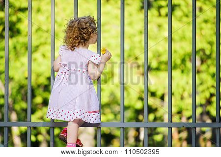 Cute Little Girl, Hold With Her Hand A Yellow Dandelion And  Looking Through Metal Bars A Fence.