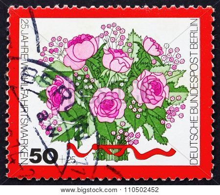 Postage Stamp Germany 1974 Bouquet Of Rose Flowers
