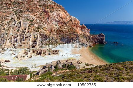 Abandoned sulfur mines beach, Milos island, Cyclades, Greece