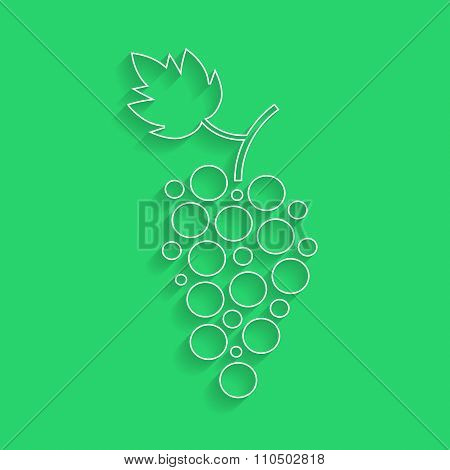 white outline grapes icon with shadow