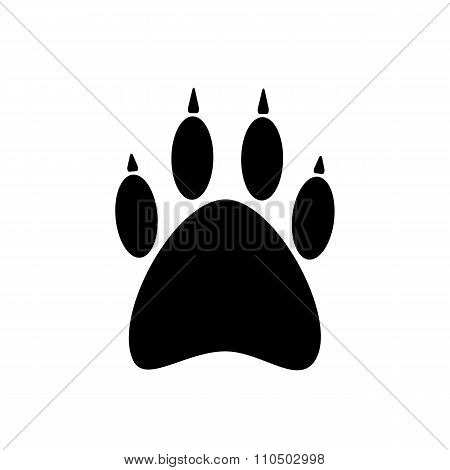 black paw icon isolated on white background
