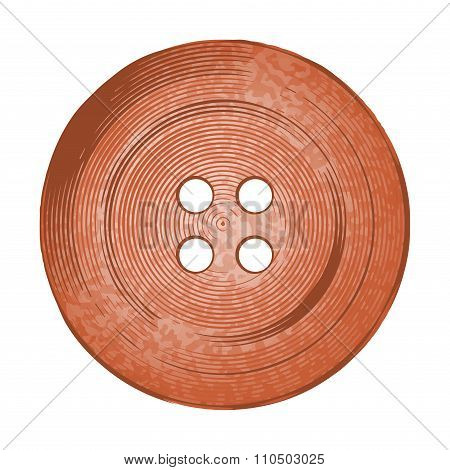 Vector Copper Sewing Button In Vintage Stylev