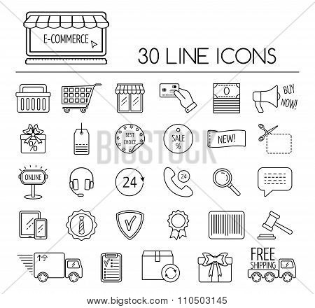 Set Of Line E-commerce Icons. Flat Design. Vector