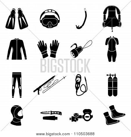 Scuba diving equipment. Sport underwater, water sea, glove and flashlight, mask and snorkel, vector