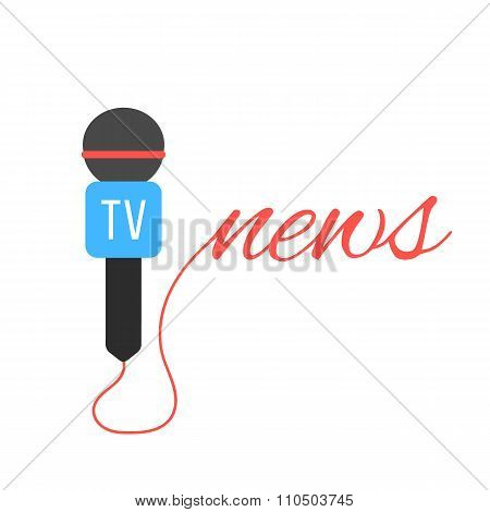 tv channel microphone with news lettering