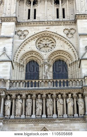 Paris - West facade of Notre Dame Cathedral. . Part of The King's Gallery
