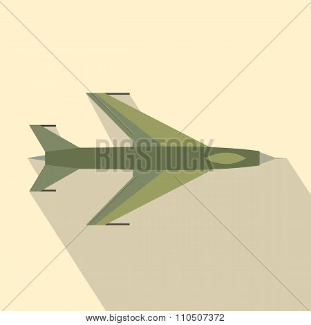 New flying jet fighter flat icon