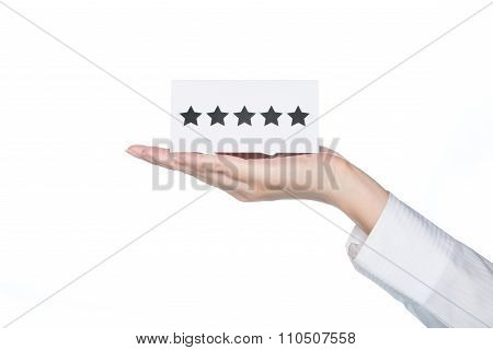 Woman Hand Holding Five Stars Shape Card, Top Service