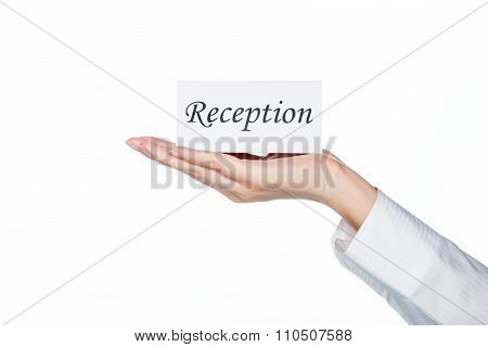Woman Hand Holding Reception Card, Hotel Reception