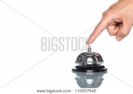 Service Bell With Human Hand On White Background,  Customer Demand