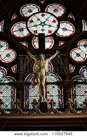 PARIS, FRANCE - SEPTEMBER 8, 2014: Stained glass windows inside the treasury of Notre Dame Cathedral UNESCO World Heritage Site. Paris France