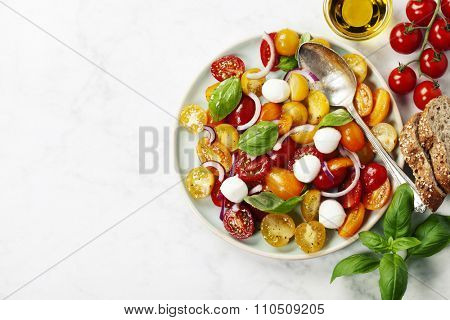 Blue plate of fresh and healthy Mediterranean salad with mozzarella cheese, tomatoes, red onion, basil leaves and a spoon on white marble vintage background.