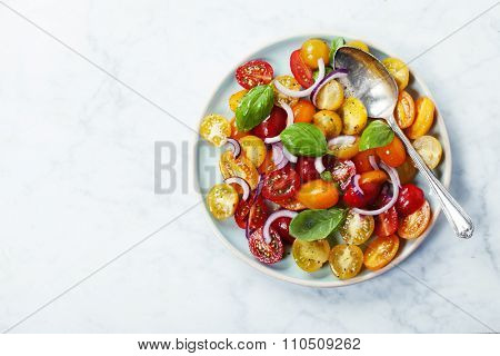 Fresh tomatoes with basil leaves, onion and olive oil in a bowl on vintage background.