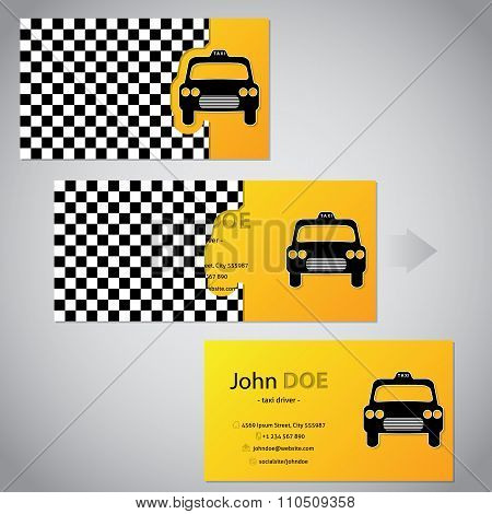 Two Piece Taxi Business Card With Cab