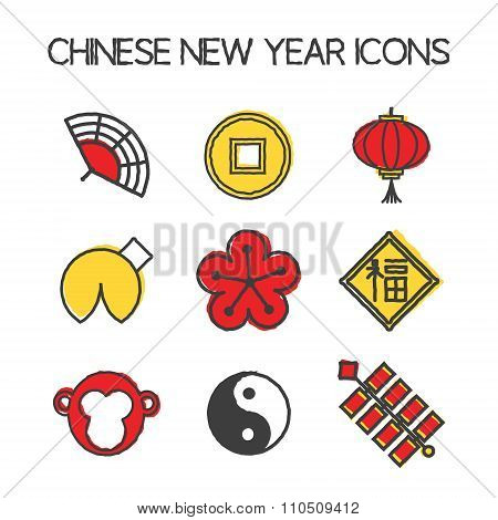 Year of the Monkey icons.