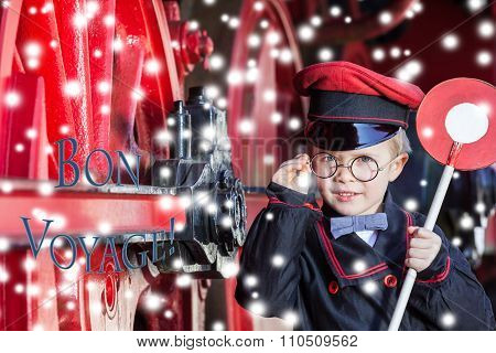 Smiling Train Conductor Boy in Winter - Bon Voyage