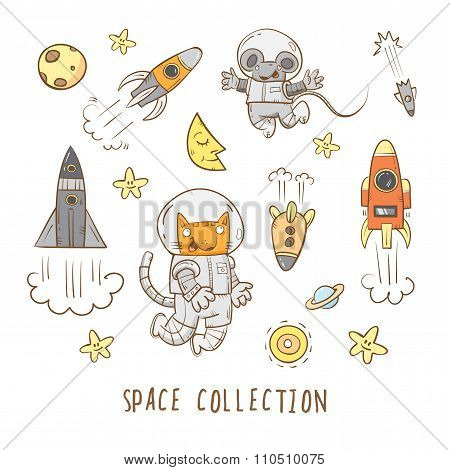 Cartoon Space Set.