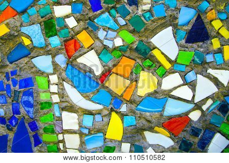 Mosaic of colored glass.