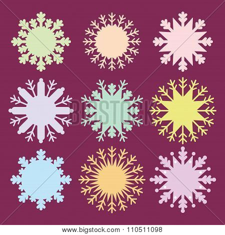 Christmas card design snowflake set blue mint orange pink lilac on burgundy dark purple background.
