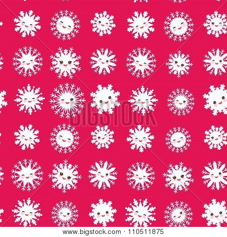 seamless pattern, Kawaii snowflake set white funny face with eyes and pink cheeks on magenta pink ba