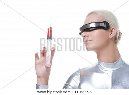 Beautiful cyber woman with syringe