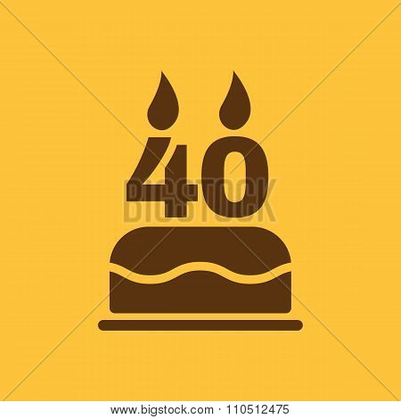 The birthday cake with candles in the form of number 40 icon. Birthday symbol. Flat