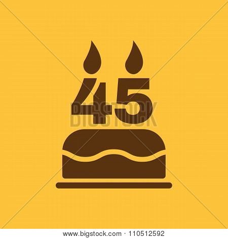 The birthday cake with candles in the form of number 45 icon. Birthday symbol. Flat
