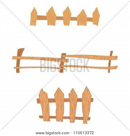 Wooden cartoon fences set. Wooden fence set. Wooden fence vector. Wooden fence illustration. Wooden fence art. Wooden fence collection. Wooden fence isolated. Wooden fence shape