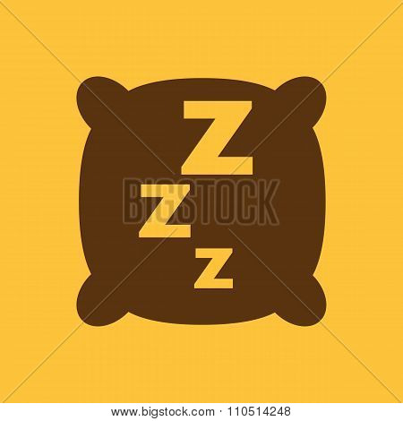 The pillow icon. Cushion and dream, sleeping, hotel, hostel symbol. Flat