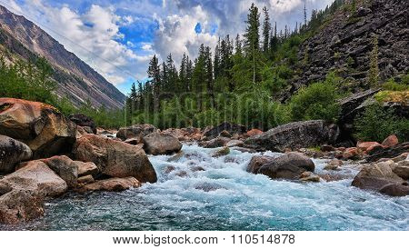 Clean Water Of A Mountain River
