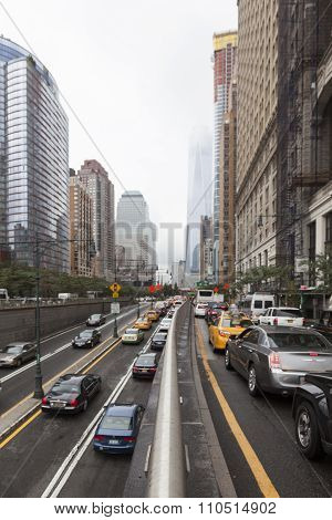 Traffic On Greenwich Street In Downtown Manhattan New York City
