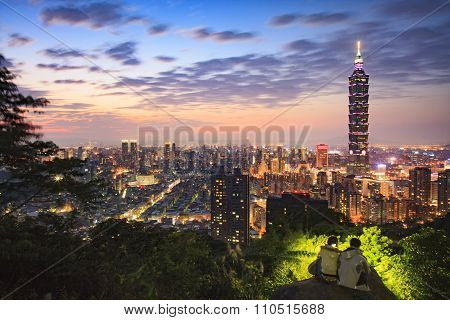 Taipei, Taiwan City Skyline At Twilight.