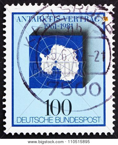 Postage Stamp Germany 1981 Map Of Antarctic