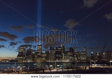 new york city, isa, 11 september 2015: manhattan at night seen from brooklyn heights