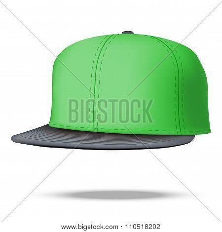 Layout of Male green rap cap. Vector illustration