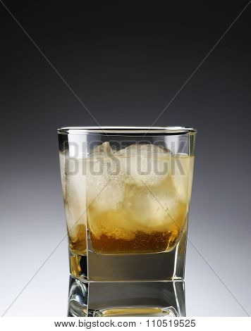 Whiskey With Ice In A Sweaty Glass