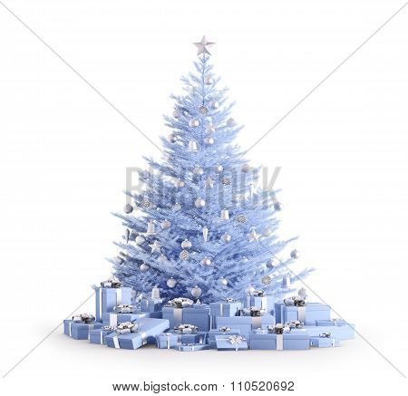 Blue Christmas Tree With Gifts Isolated 3D Render
