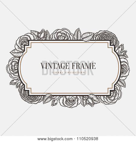 Vector floral vintage frame. Retro style graphic illustration.
